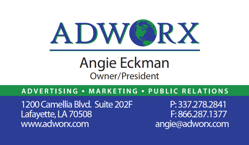 Business card design adworx lafayette la even in the digital age clients expect a business card when you meet creatively designed business cards allow you to stand out and show off your reheart Images